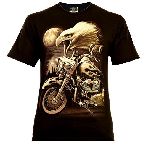 Eagle Rider Herren T-Shirt Schwarz Gr. L Glow in The Dark