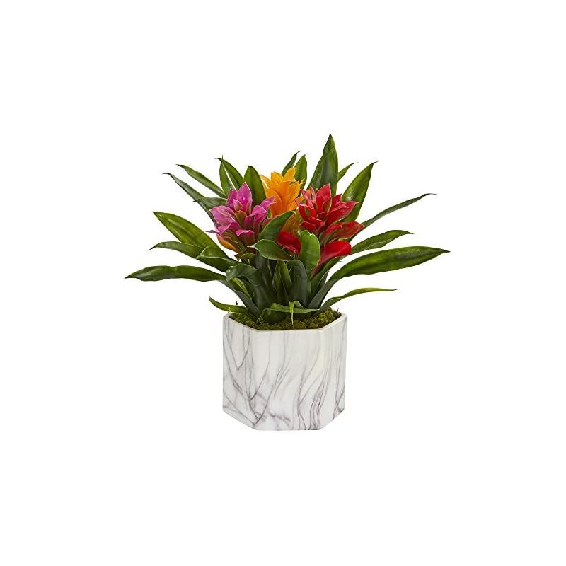 silk flower arrangements nearly natural 8139-as bromeliad artificial marble finished vase silk plants assorted