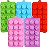15 Cavity Flower Chocolate Candy Molds, Non-Stick Silicone Molds Baking Molds for Chocolates, Candies, Ice Cubes, Jellos, Handmade Soap, and Bath Bombs (5pack)