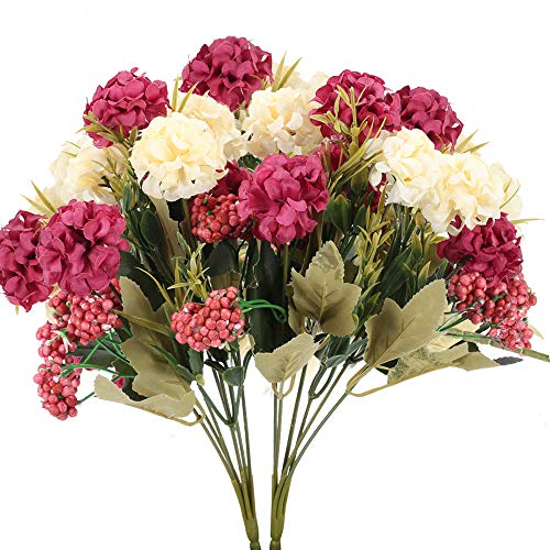 HUAESIN 2pcs Ramo de Flores Artificiales Hortensias 7 Cabezas Flores de Plastico Claveles Ramo Flores de Tela para Interior Exterior Boda Navida Jarrones Mesa Fiesta Cumpleaños Aniversario Hogar