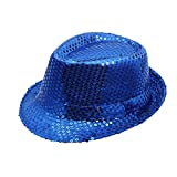 LUBITY Chapeau Hommes Femmes Chapeau Paillettes Chapeau de Danse Spectacle sur Scène Spectacles Paillettes Unisexe Jazz Chapeau Chic Mode Chapeau Pas Cher (Bleu)