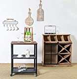 HAWOO Kitchen Microwave Cart, 3-Tier Kitchen Cart with Wheels, Industrial Rolling Serving Bar Cart with Metal Frame for Living Room, Rustic Brown