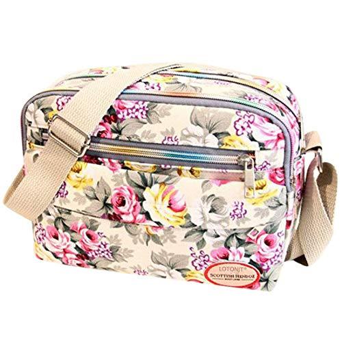 Women Handbags Halijack Ladies Vintage Printing Canvas Crossbody Bag Messenger Bag College Girl Casual Travel Purse Cosmetic Bag Summer Beach Bag Small Shoulder Bag