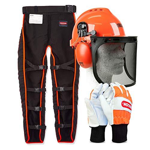 Oregon Kit de seguridad con perneras anticorte tipo A, casco forestal y guantes de protección talla M 🔥