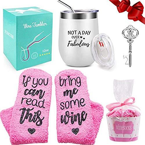 Juego de calcetines de vino con cupcakes, calcetines de vino divertidos con abrebotellas de llave, regalo perfecto para mujeres niñas, cumpleaños, día de San Valentín, día de la madre, aniversario