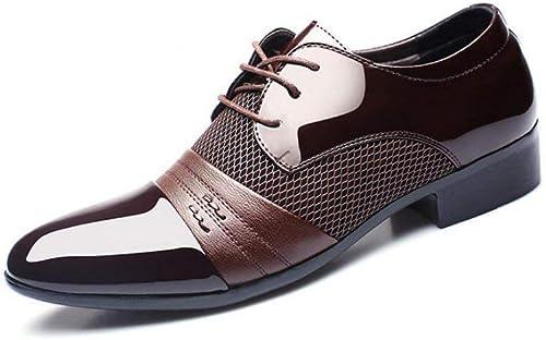 Hhor Chaussures pour Hommes, Chaussures Formelles Classiques Confortables, Chaussures à Bout Pointu en Cuir de Printemps, Tenue de Mariage décontractée, Marron, 44
