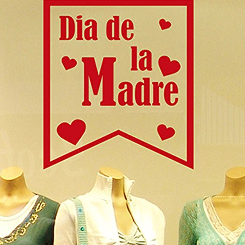 IDEAVINILO - Vinilo Día de la Madre. Color Rojo. Medidas: 60x75cm