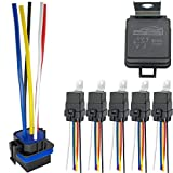 IRHAPSODY 5 Pack 80/60 AMP Waterproof Relay and Harness - Heavy Duty 12 AWG Tinned Copper Wires, 12 V DC 5-PIN SPDT Bosch Style Automotive Relay