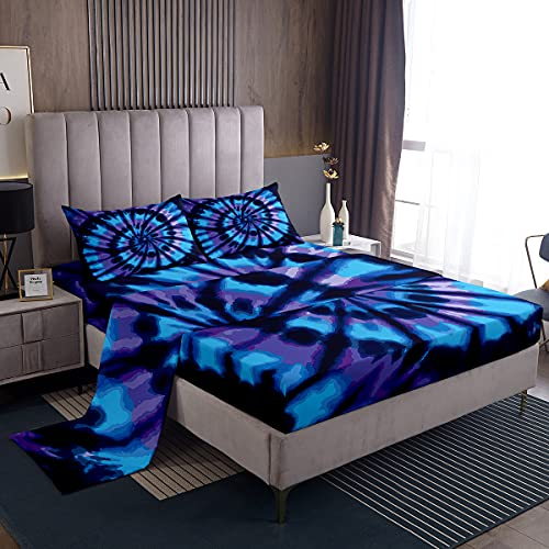 Tie Dye Bed Sheet Set Queen Size 4 Pieces Blue Spiral Room Decor Bedding Sheets Set with Deep Pocket Watercolor Swirl Shape Fitted Sheet for Kids Soft Cool Hotel Top Flat Sheet Luxury Microfiber
