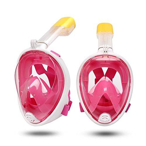 DUBAOBAO Volledig gezichtsmasker voor snorkelen, gratis duikmasker ademhaling panoramisch/afneembare camera installatie, anti-mist, anti-lekkage (roze, L/XL)