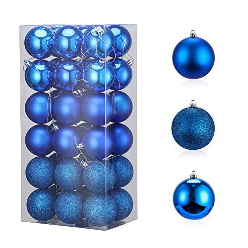 LessMo 36Pcs 6cm Palline di Natale, Palla Sfera Infrangibile in Plastica per Albero di Natale, Decorazioni Natalizie con Ciondolo a Pallina da Appendere per La Casa Decorazioni per Feste