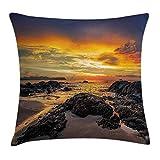 Butlerame Funda de Almohada de Playa, Colorido Amanecer, Cielo sobre el océano con Foto de la Costa asiática calmada de Roca, 18 x 18 Pulgadas, Azul Naranja Crema