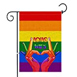 Bonsai Tree Gay Pride Garden Flags 12x18 Prime Burlap Double-Sided Seasonal Outdoor Decorative Rainbow Yard Flag with Rubber Stopper & Anti-Wind Clip