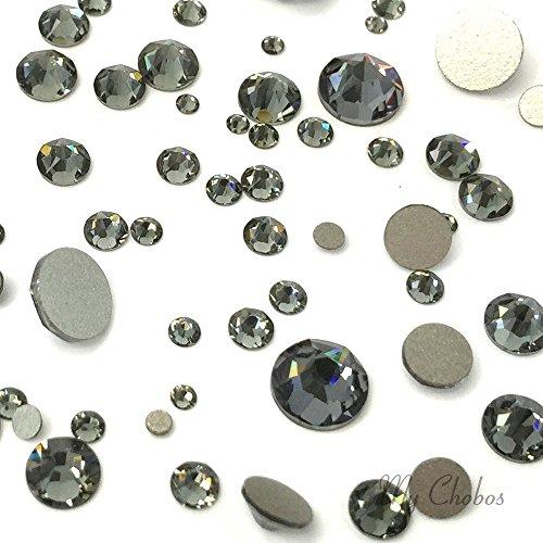 BLACK DIAMOND (215) 144 pcs Swarovski 2058/2088 Crystal Flatbacks rhinestones nail art mixed with Sizes ss5, ss7, ss9, ss12, ss16, ss20, ss30