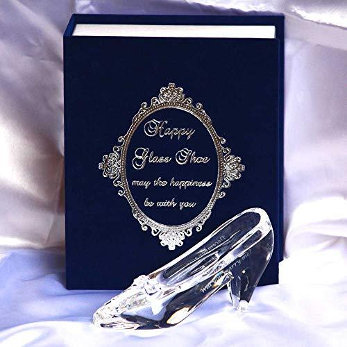 お名前入り☆クリスタル製ガラスの靴☆HappyGlassShoe