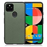 LOOF Luxury Google Pixel 5a 5G 背面 ケース カバー ハードカバー ハードケース ピクセル スマホケース 本革 ストラップホール[ダルグリーン]