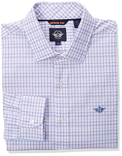 Photo of dockers Men's Long Sleeve Slim Poplin Woven Shirt Button, Red White Delft-Dobby Plaid, S