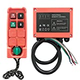 Micro Electric Hoist Industrial Radio Remote Control Wireless Transmitter Stop Button 2 Key Switch F21-2S-WD 110V DC (1 Transmitter+1 Receiver)