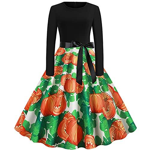 YONGYONG Vintage elegante una lnea de vestido de mujer vintage o cuello manga larga Halloween impreso noche fiesta fiesta fiesta vestido de fiesta, 022-Verde, X-Large