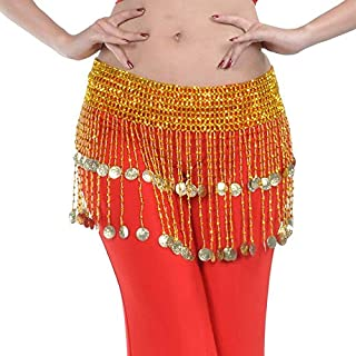Women Bellydance Clothes Tassel Hip Scarf Belly Dance Elastic Wrapped Belt with Gold/Silver Beaded Fringes