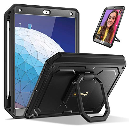 Fintie Tuatara Magic Ring Case for iPad Air (3rd Gen) 10.5' 2019 / iPad Pro 10.5' 2017-360 Rotating Grip Stand Shockproof Rugged Cover with Built-in Screen Protector, Pencil Holder (Black)
