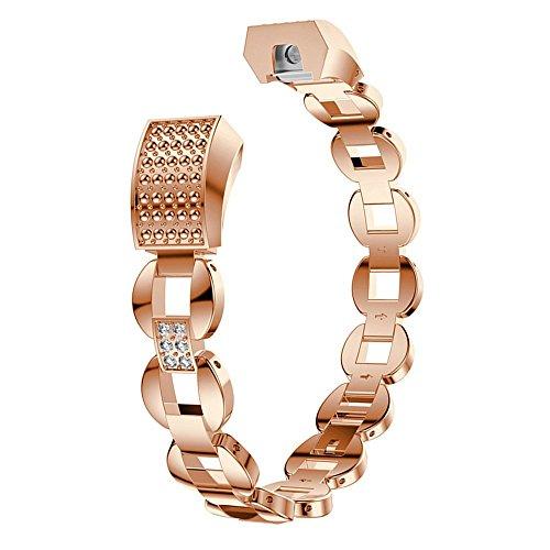 Aottom Kompatibel mit Edelstahl Armband Fitbit Alta HR Rose Gold Band,Armband Fitbit Alta Edelstahl Frauen Armbänder Metall Glitzer Ersatzband Fitness Zubehör für Fitbit Alta HR/Fitbit Alta
