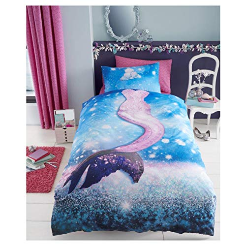Lions Kids Duvet Cover Quilt Bedding Sets with Matching Pillowcases | Panel-Mermaid | 2 Piece Bedding Set | Reversible | Poly-Cotton | Easy Care | Girl | Single Bed | 135 x 200cm | Navy |