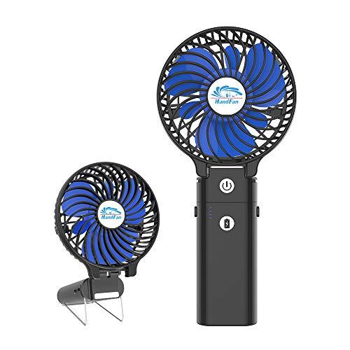 HandFan 携帯扇風機 ハンディファン USB充電式 5200mAhモバイルバッテリー兼用 ハンディ扇風機 手持ち扇風機 ミニ扇風機 手持ち・卓上・クリップ三用 3段階風量 小型 静音(ブラック+青)