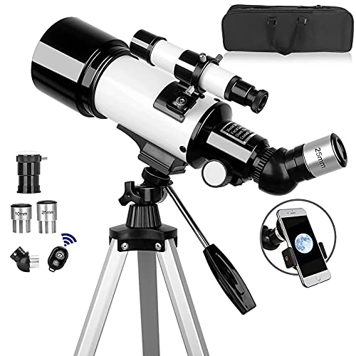 Telescope,70mm Aperture 500mm Telescope for Adults & Kids, Astronomical Refractor Telescopes AZ Mount Fully Multi-Coated Optics with Carrying Bag, Wireless Remote,Tripod Phone Adapter