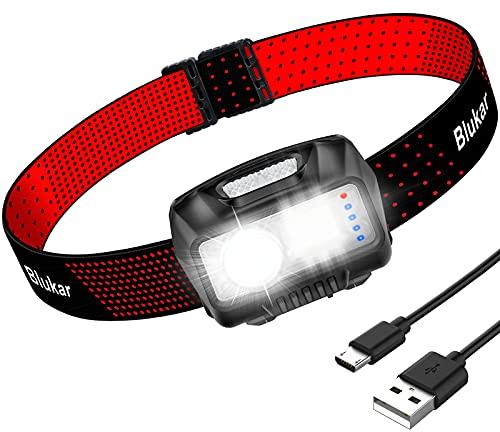 Blukar Linterna Frontal, Súper Ligero COB Linterna Frontal LED Recargable con 8 Modos, Super Brillante Linterna Cabeza Con Sensor de Movimiento Impermeable Ideal para Correr / Pesca / Camping