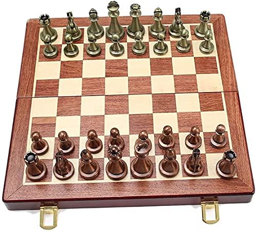 WSVULLD Conjunto de ajedrez único, conjunto de tablero de juego de ajedrez estándar de madera plegable con piezas artesanales de madera y tragamonedas de almacenamiento de ajedrez colección noble, reg