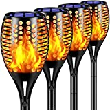 TomCare Solar Lights Upgraded, 43' Waterproof Flickering Flames 96 LED Torches Lights Outdoor Solar Landscape Decoration Lighting Dusk to Dawn Auto On/Off Pathway Lights for Garden Patio Driveway (4)