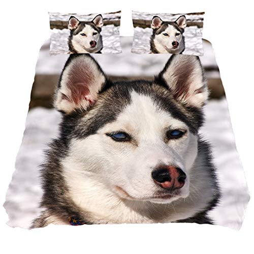 ASIGA Kids Single Duvet Cover Set 2 Pieces Printed Comforter Cover with Zipper Closure Bedding Set for Girls Boys,Husky Dog Muzzle