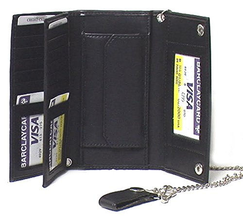 Elegant Faux Leather Men's Tri-fold Biker/Truckers' Wallet Black #4795 US