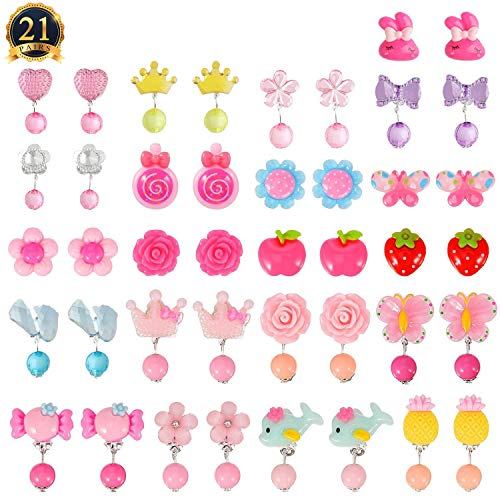 HaiMay 21 Pairs Clip on Earrings Girls Play Earrings for Party Favor, All Packed in 3 Clear Boxes