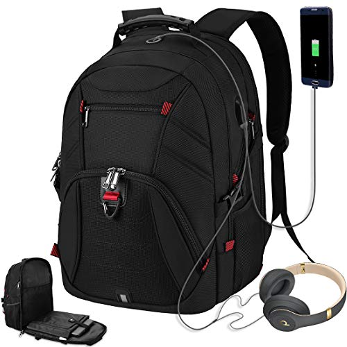 Laptop Backpack for Men 17 Inch Extra Large Travel Backpack Waterproof Business Backpack Anti Theft College School Bookbag with USB Charging Port 17.3 Gaming Computer Backpack for Women Men 45L Black