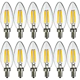 MaxLite Candelabra LED Chandelier Bulbs, 40W Equivalent, Enclosed Fixture Rated, 300 Lumens, Dimmable Filament Candle Bulbs, E12 Base, Energy Star, Wet Rated, 2700K Soft White, 12-Pack