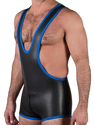 665 Leather Neoprene Zip-Thru Wrestling Singlet Black/Blue Small