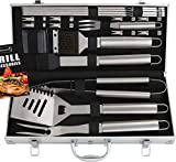 Romanticist 18 PC Kit Barbecue in Acciaio Inox - Kit Barbecue Premium per Uomo Regalo di Compleanno di papà - Perfetti per Barbecue Accessori Utensili da Barbecue