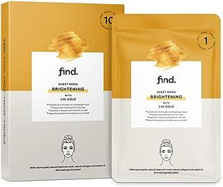 Amazon-merk: find. Verhelderend gezichtsmasker, Sheet Mask met 24 karaat natuurlijk goud, 10 stuks