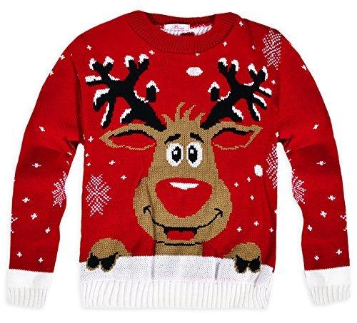 NAZ Fashion Niños Unisex Punto Rudolph Jersey de Navidad (Rojo, 9-10 Años)