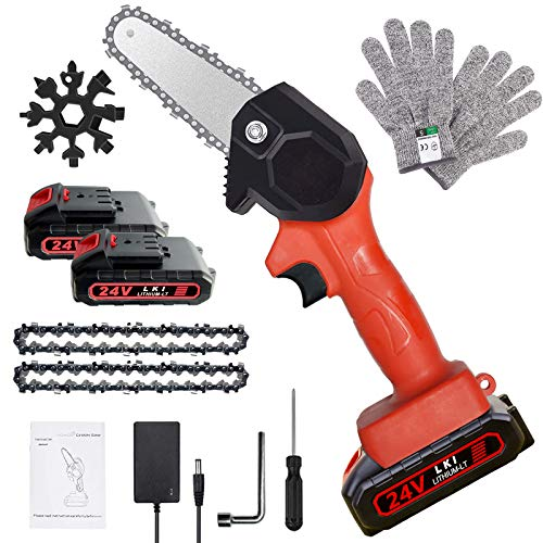 Mini Chainsaw, 4-Inch Rechargeable Mini Lithium Chainsaw...