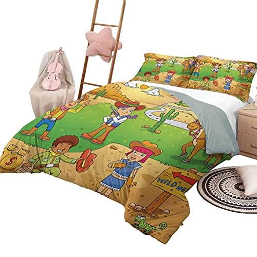 Juego de edredón para sofá cama Funda de edredón de dibujos animados con patrón Diseño de habitación de guardería para niños con juguetes como animales, búhos, pájaros, libros de lectura, ilustracione