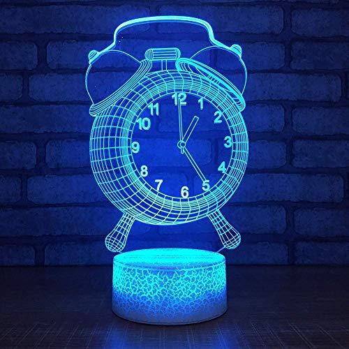 LKAIBIN Dormitorio luz nocturna 3D USB reloj despertador de iluminación accesorio de modelado lámpara de escritorio 7 cambio de color decoración iluminación niños cumpleaños año regalo