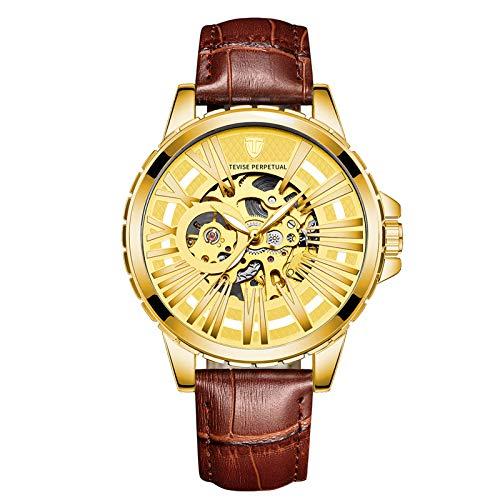 YiLuFanHua Relojes Hombre Negocios Luminoso Impermeable Reloj Banda De Cuero Analogicos Fecha De Pulsera Regalo Elegante,Brown Gold