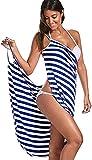 Poncho Surf Mujeres Bikini Cover Up Sin espalda Cuello en V Rayas Vestido cruzado de longitud media para nadar en la playa Vacaciones Casual Cover Ups HSWYJJPFB Towel Robe 0207(Color:Blue;Size:M-Mediu