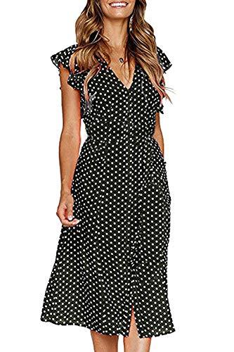 FUTURINO Damen Sommerkleid Elegant Vintage Cocktailkleid Kurzarm Kleider Unregelmäßige Strandkleid mit Knöpfen, Schwarz, M(EU 38)