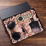 XYZMDJ Trend Trend All-Match Gift Set Gafas + Banda de Acero Reloj de Cuarzo + Botella de Perfume + Llavero (4pcs / Set)