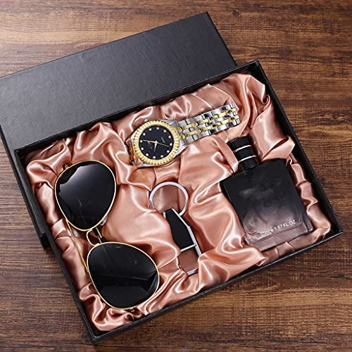 GYZX Trend Trend All-Match Gift Set Gafas + Banda de Acero Reloj de Cuarzo + Botella de Perfume + Llavero (4pcs / Set)