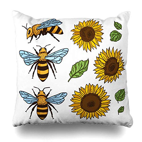 Klotr Housses De Coussin Bug Green Black Bees Sunflowers Wildlife Agriculture Clip Nature Orange Bloom Blossom Botany Design Pillowcase Square Size 18 X 18 inches Zippered Home Decor Cushion Case